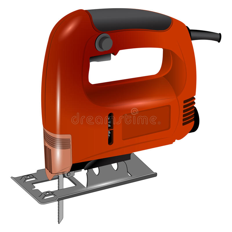 Electric jigsaw in red body stock photo
