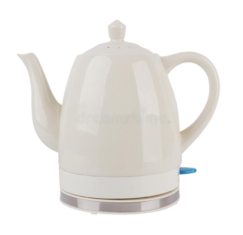 Electric kettle isolated. Ceramics electric kettle isolated on white background royalty free stock images