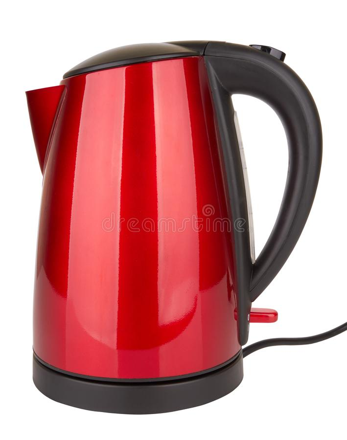 Electric kettle isolated. Plastic electric kettle isolated on white background royalty free stock photos