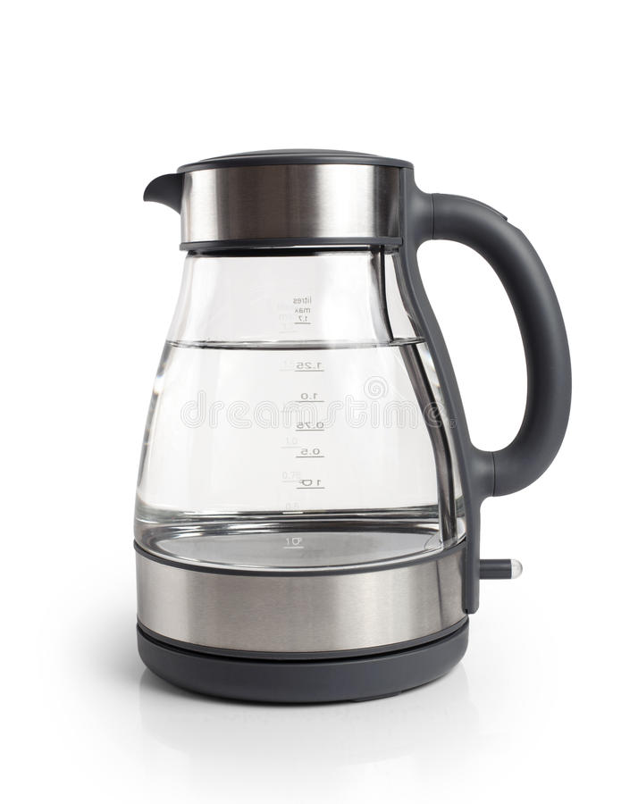 Electric kettle isolated on white background. Close up stock photo