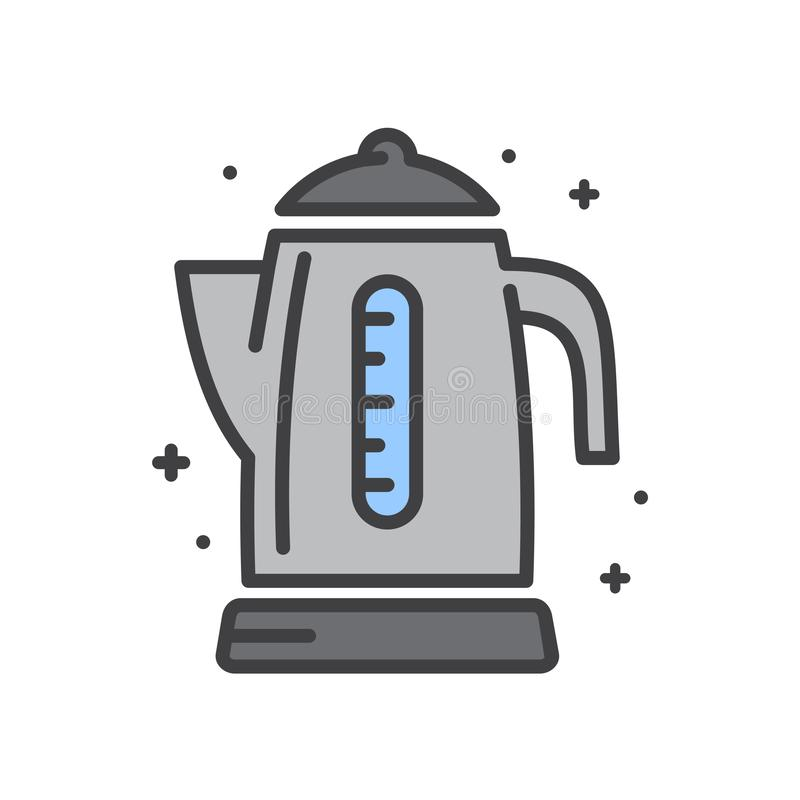Electric kettle line icon on white background for graphic and web design, Modern simple vector sign. Internet concept. Trendy stock illustration