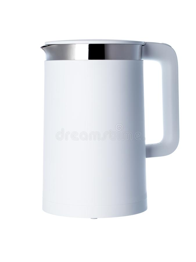 Electric kettle made of matte white plastic. stock photo