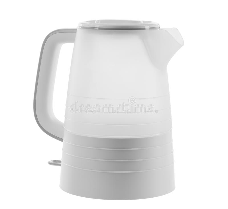 Electric kettle plastic with a power button on a white isolated background. Electric kettle plastic gray, with a handle with a power button on a white isolated stock photos