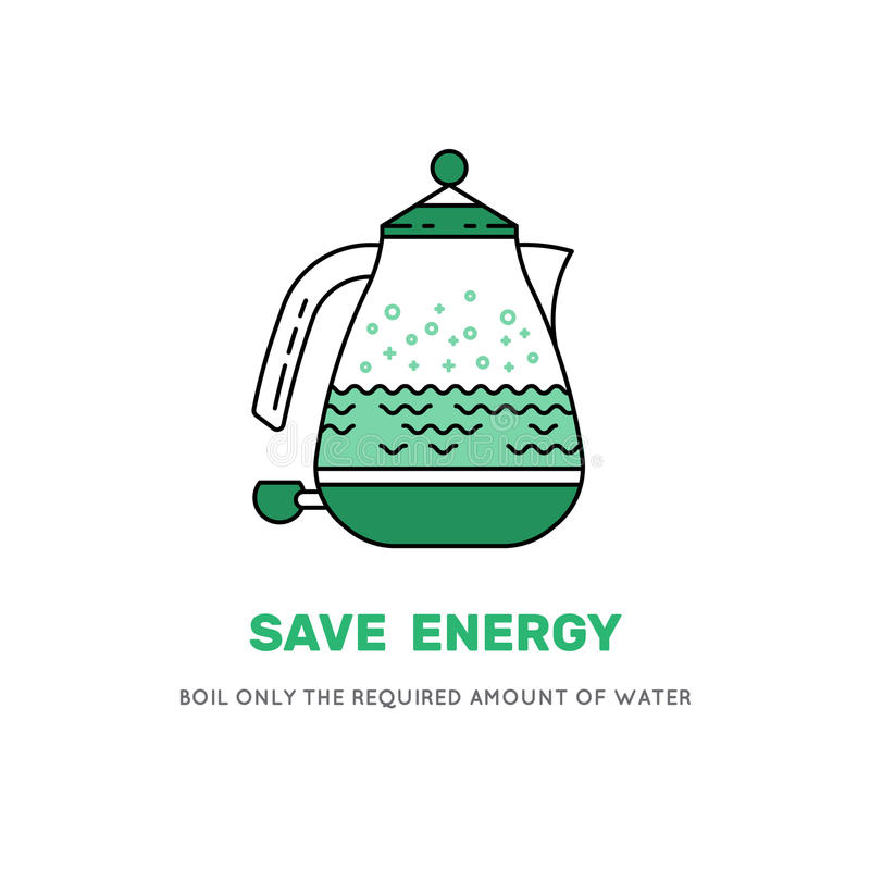 Electric kettle save electricity icon vector illustration