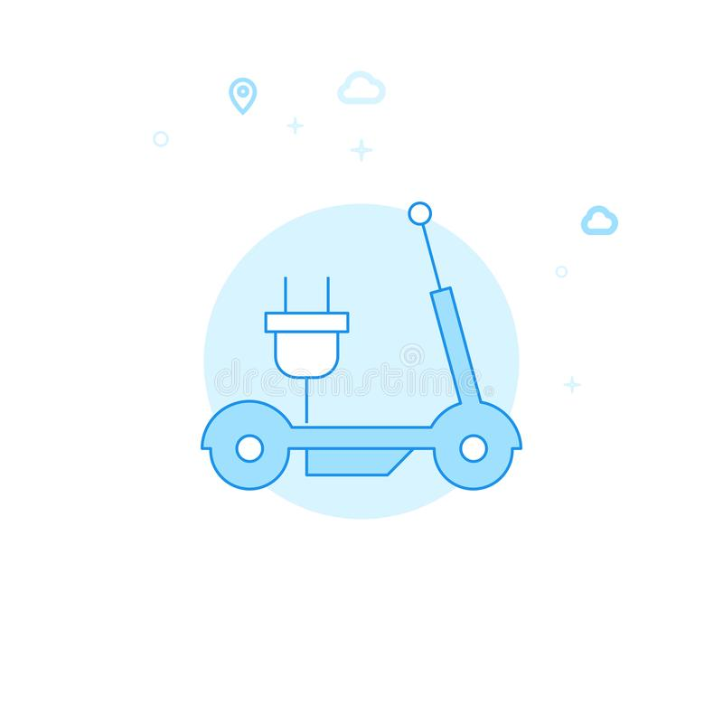 Electric Kick Scooter Flat Vector Illustration, Icon. Light Blue Monochrome Design. Editable Stroke royalty free illustration