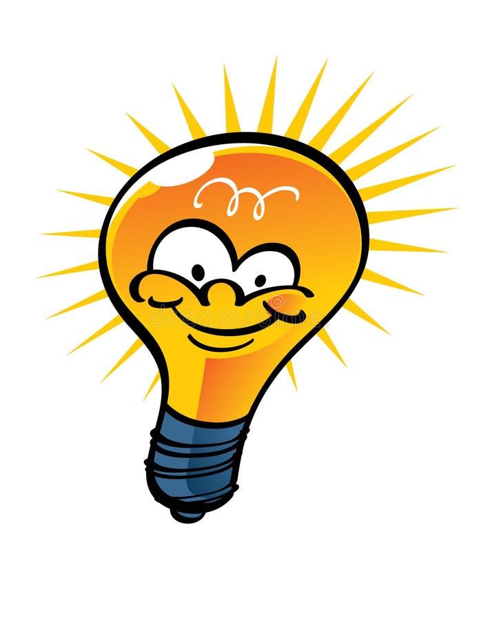 Electric Lamp lightbulb. Funny cartoon shining electric lamp lightbulb stock illustration