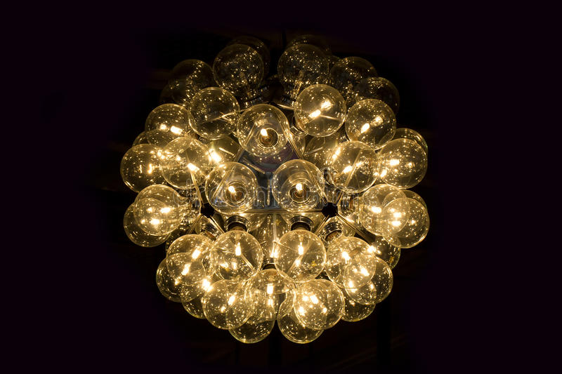 Electric lamps. Chandelier Electric Lamp much light royalty free stock image