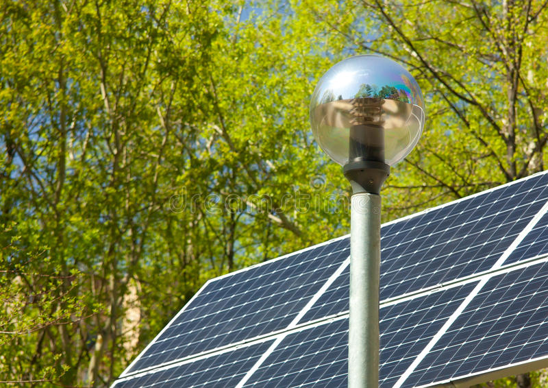 Download Electric  Lantern And Solar Panel Stock Photo - Image of green, nature: 28945872