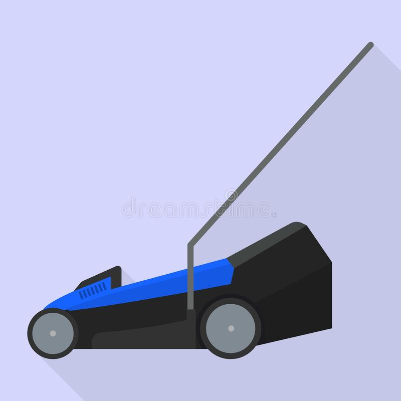 Electric lawn mower icon, flat style royalty free illustration