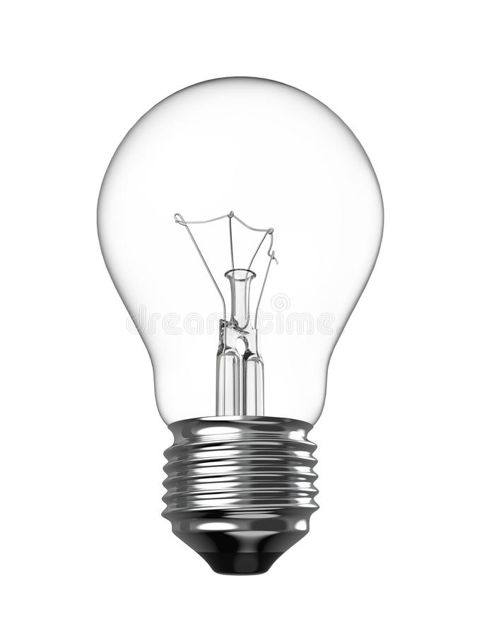 Electric Light Bulb. Isolated on White Background. Solution, Ides Symbol. 3D Illustration stock illustration