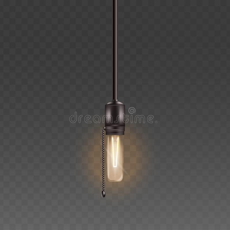 Electric light bulb or glass lamp on the cord with chain retro style realistic vector illustration isolated. Electric light bulb or glass lamp hanging on the vector illustration