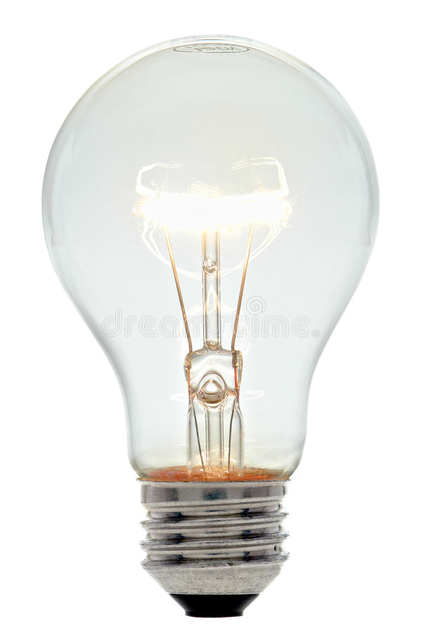 Electric Light Bulb Incandescent Filament Glowing. Bright clear glass incandescent electric light bulb with glowing lit filament and exposed electrical socket royalty free stock photography