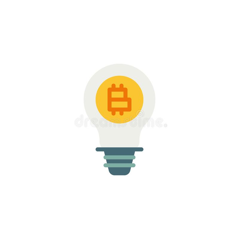 Electric Light Bulb Lamp with Bitcoin flat icon. Vector sign, Lightbulb with bitcoin colorful pictogram isolated on white. Symbol, logo illustration. Flat vector illustration