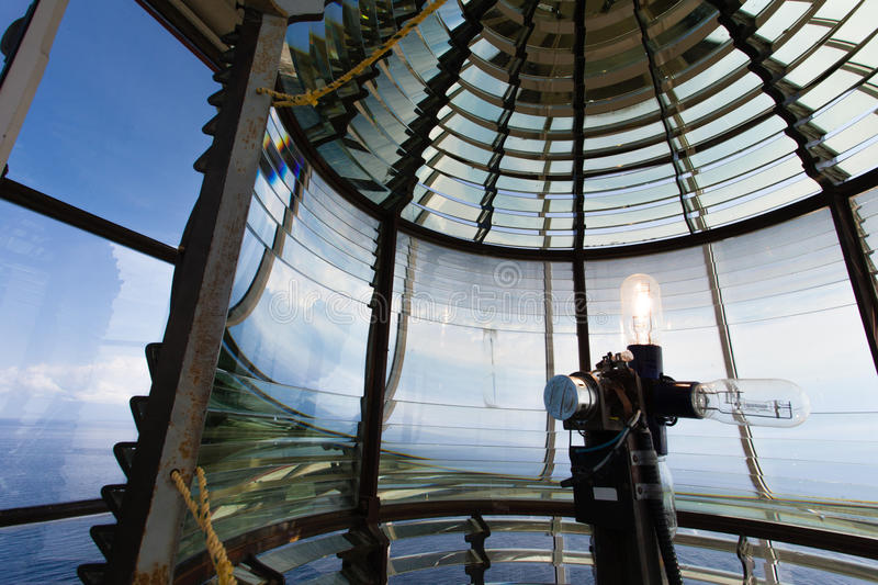 Electric light bulb of Lanse Amour Lighthouse NL. Electric light bulb assembly and glass fresnel lens of L`anse Amour Lighthouse at Strait of Belle Isle royalty free stock image