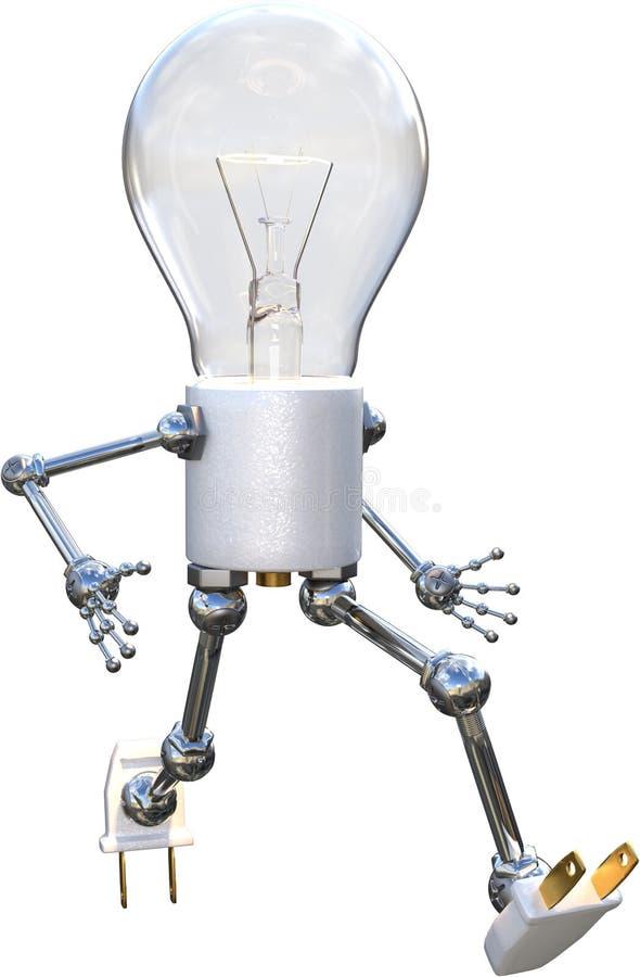 Electric Light Bulb Man isolated, Idea, Ideas. Illustration of an electric light bulb man, Abstract concept for having an idea, ideas, innovation, success, and stock photo