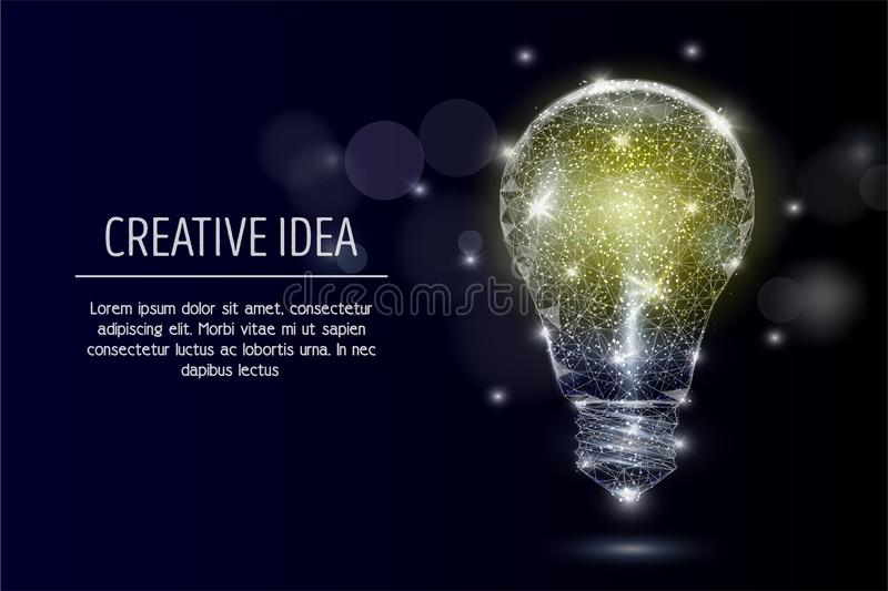 Electric light bulb vector geometric polygonal background. Vector polygonal art style electric light bulb. Low poly wireframe mesh with scattered particles and stock illustration