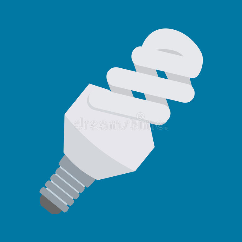 Electric light bulb vector icon in flat style design. Compact fluorescent lamp or CFL symbol. Energy-saving light tube. stock illustration