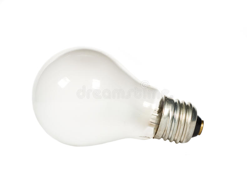 Electric Light Bulb On White stock image