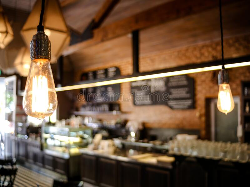 Electric light in cafe royalty free stock photo