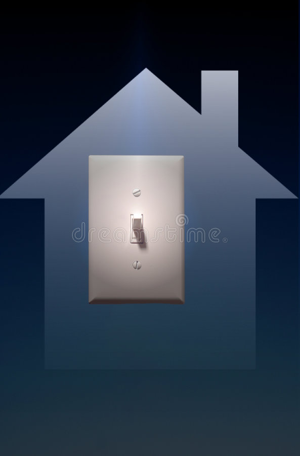 Electric Light Switch on Blue Background, Power to Lighting To Y. Photo of electric light switch on blue background, power to lighting inside the home vector illustration
