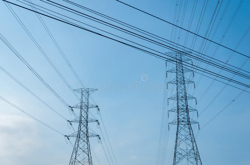 Electric line. And blue sky ,Satmutprakarn Thailand stock photos