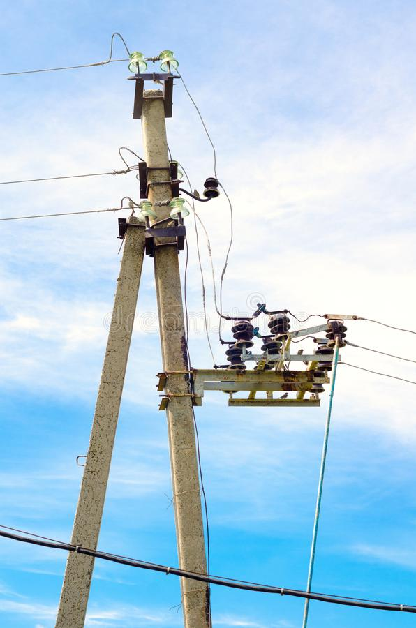 Electric line. Old rural electric line infrastructure stock photo