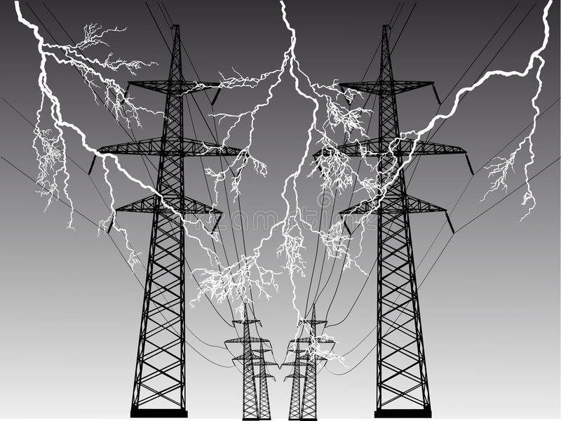 Electric line at thunderstorm