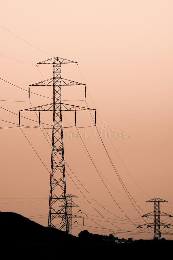 Download Electric lines stock illustration. Image of sunset, metal - 26593911
