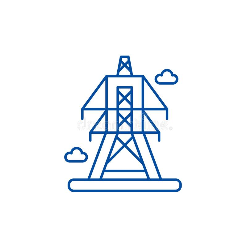 Electric lines line icon concept. Electric lines flat  vector symbol, sign, outline illustration. stock illustration