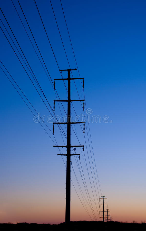 Electric Lines at Sunset royalty free stock images