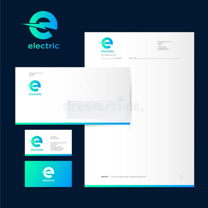Electric logo letter e with lightning on a dark background download electric logo letter e with lightning on a dark background letterheads envelopes and business colourmoves