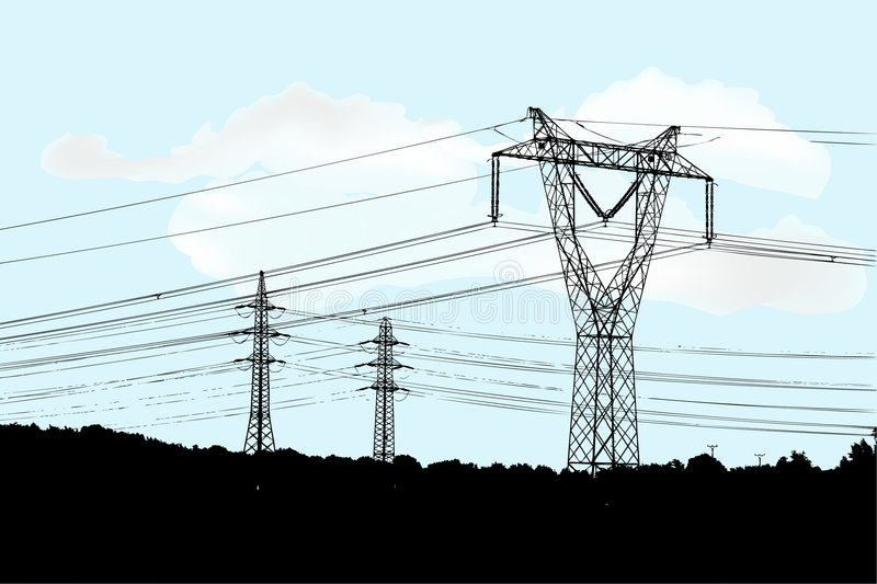Electric main. On the cloudy background royalty free illustration