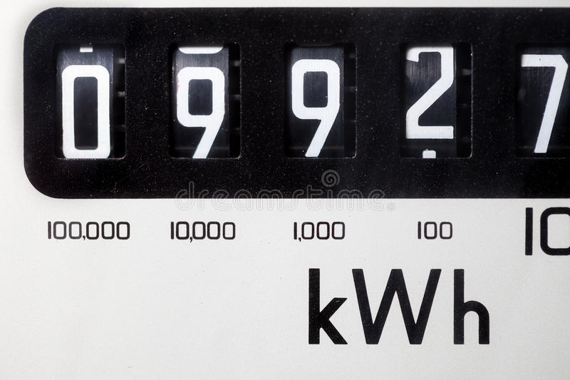Electric meter close-up. An electric meter dial showing a simple layout of digits for reading stock photography