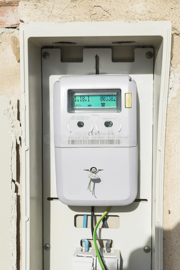 Electric meter. Digital light meter equipped with optical output stock photo