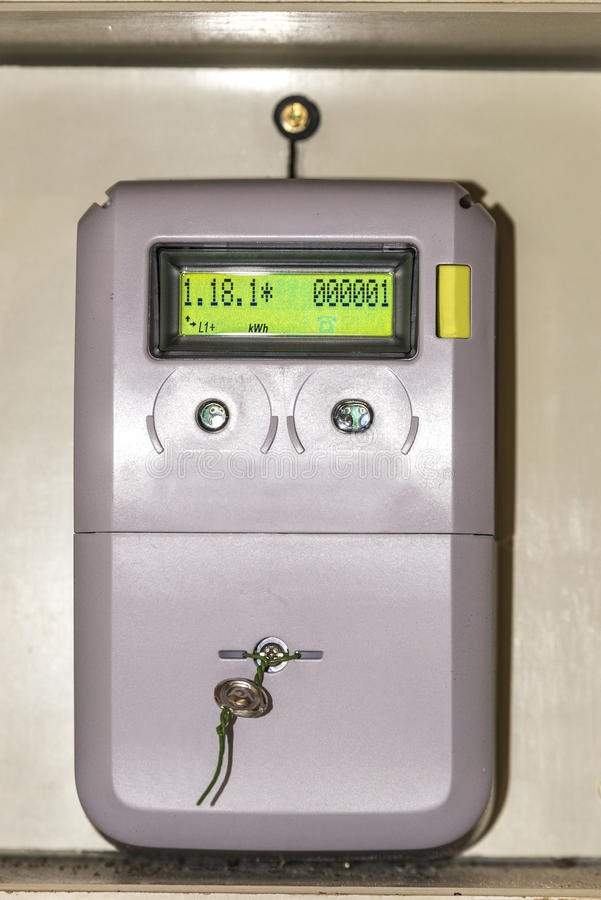 Electric meter. Digital light meter equipped with optical output. His reading of consumption is one stock images