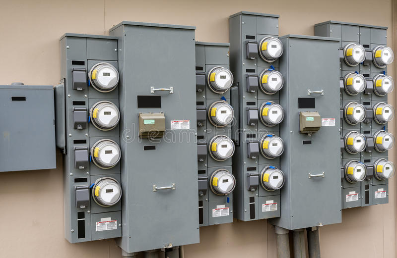 Electric Meters At Apartment Complex stock image