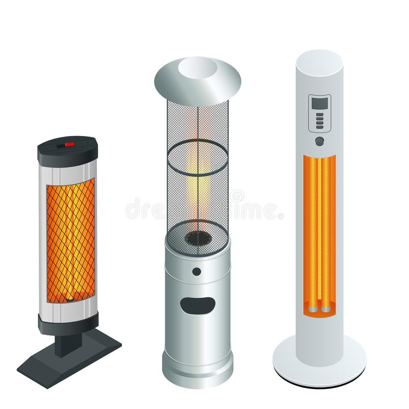 Free Electric Modern Long-Wave Infrared Patio Heaters And Gas Patio Heater. Isometric Best Patio Heaters For Your Garden Stock Photo - 163227250