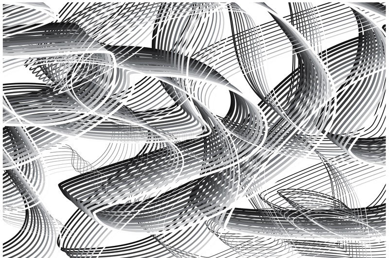 Electric Modern monochromatic Background. White and black wavy contemporary background lines and curls stock illustration