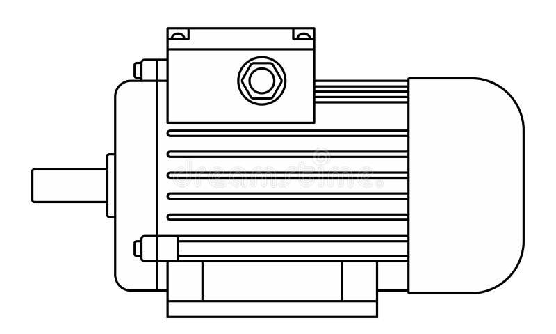 Electric motor contour illustration royalty free stock image