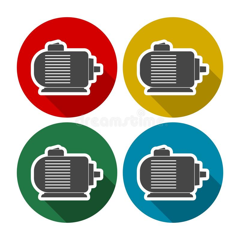 Electric motor icons set. Vector icon royalty free illustration
