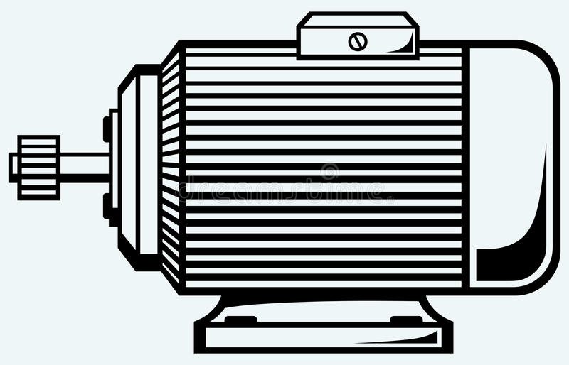 Electric motor. Image isolated on blue background stock illustration