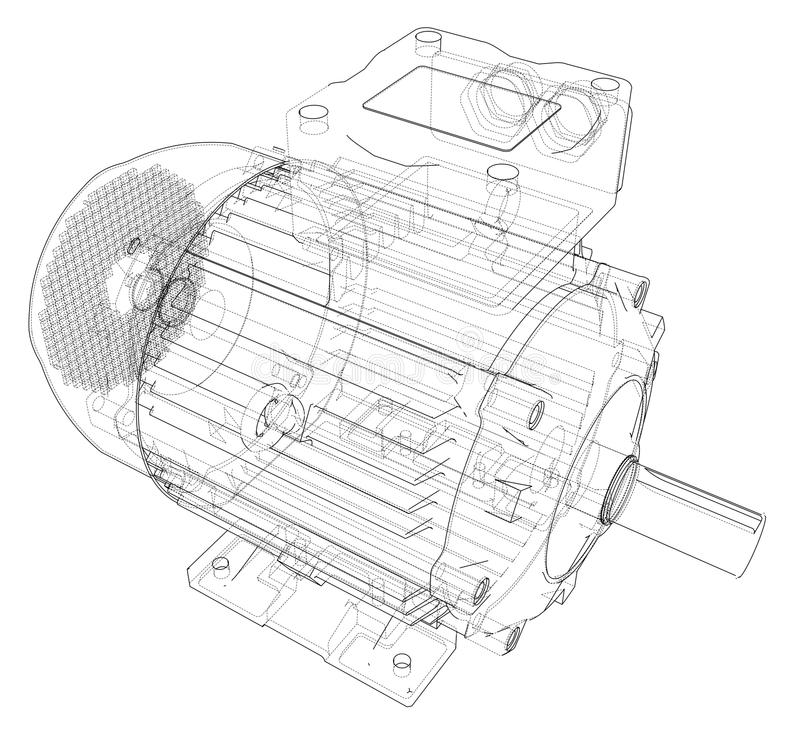 Electric motor outline. Vector. Rendering of 3d. Wire-frame style. The layers of visible and invisible lines are separated royalty free illustration