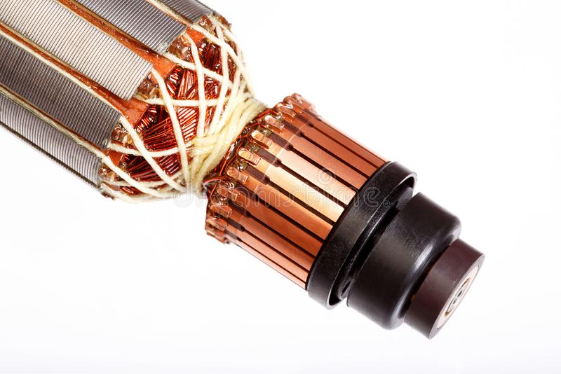 Electric motor, rotor close-up, isolated white background. Electric motor, rotor close-up, isolated white stock images