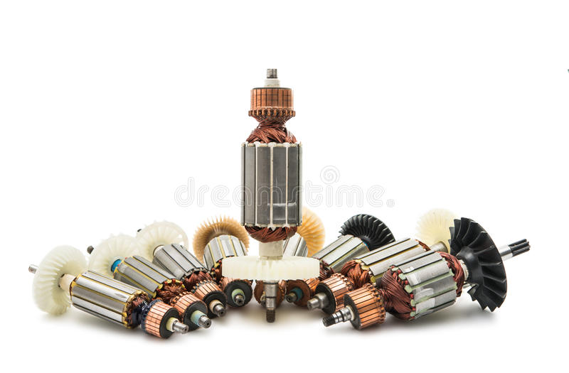 Electric motor rotor isolated. White background royalty free stock images