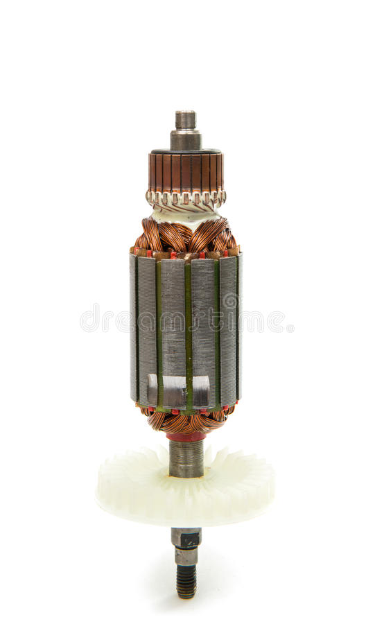 Electric motor rotor isolated. White background royalty free stock photo