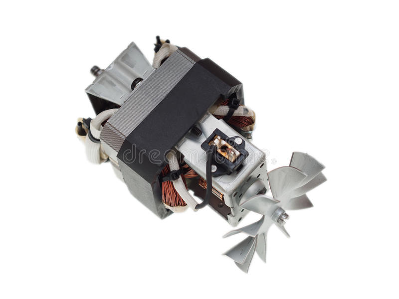 Electric motor of vacuum cleaner isolated on white stock image