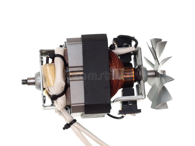 Electric motor of vacuum cleaner isolated on white royalty free stock photo