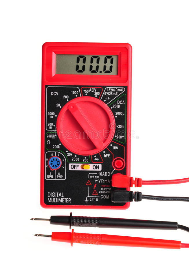 Electric Multimeter With Digital Display On White Stock Photo