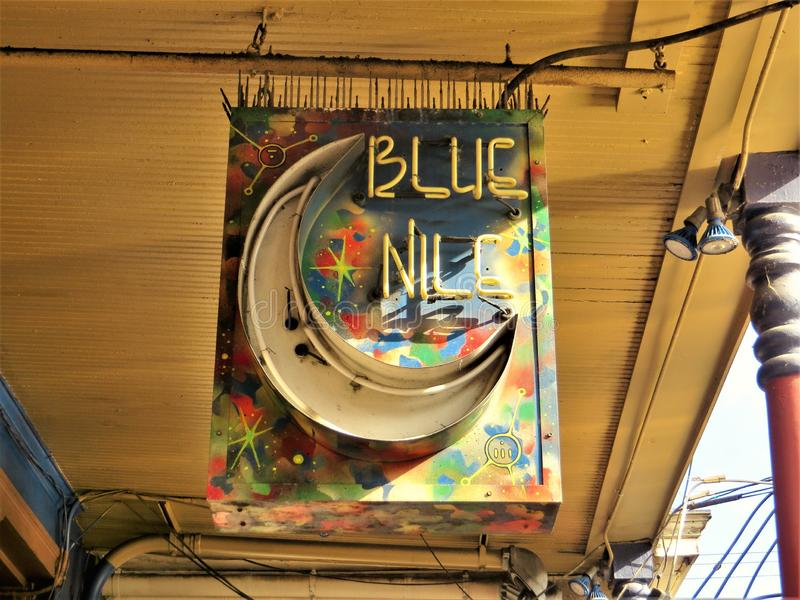 Blue Nile, New Orleans. Electric neon sign for longstanding live music bar in NOLA near the French Quarter which features music from traditional jazz to blues royalty free stock image