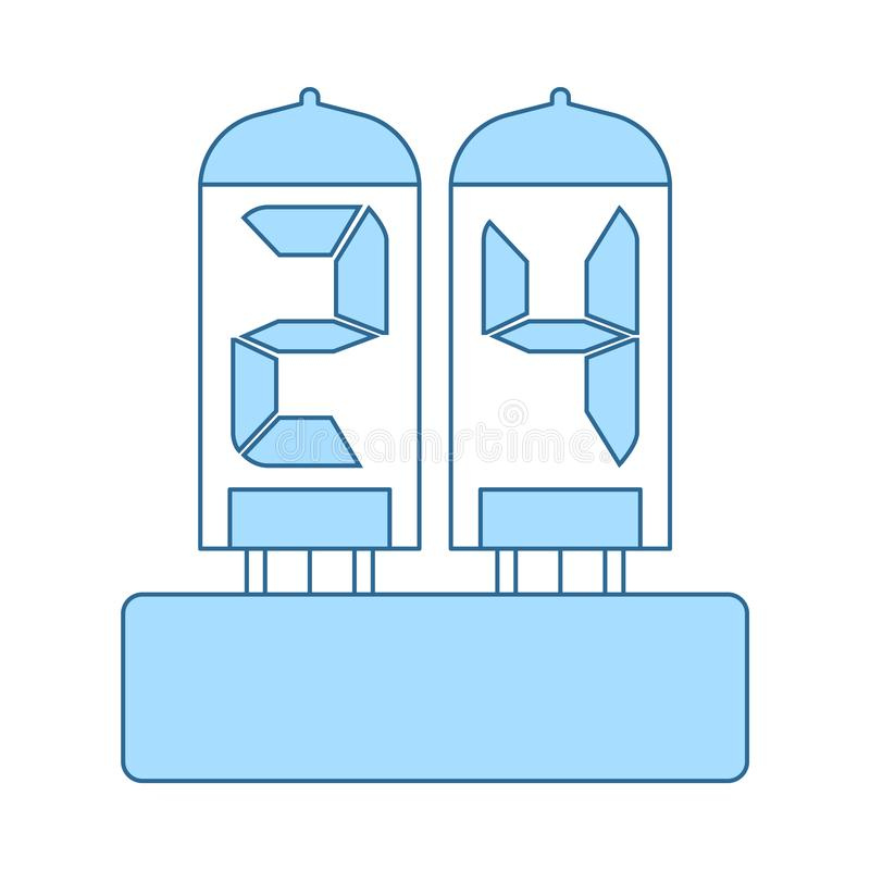 Electric Numeral Lamp Icon. Thin Line With Blue Fill Design. Vector Illustration royalty free illustration